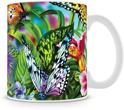 Saledart Mg223-Very Beautiful Butterfly And Flower View Ceramic Mug