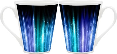 HomeSoGood Lighting From Optical Fibers Pattern Latte Ceramic Mug