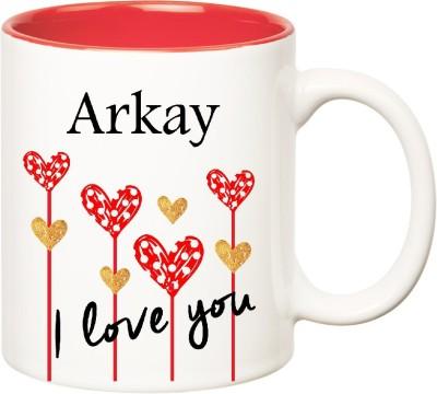 Huppme I Love You Arkay Inner Red  (350 ml) Ceramic Mug