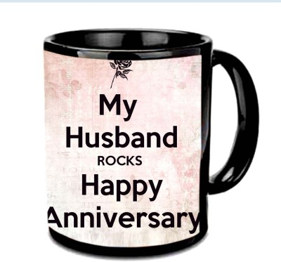 Jiya Creation1 My Husband Rocks Anniversary Multicolor Ceramic Mug