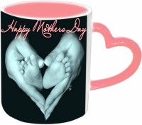 Jiya Creation1 Happy Mother's day with Hand heart Pink Heart Handle Ceramic Mug(3.5 ml) best price on Flipkart @ Rs. 399