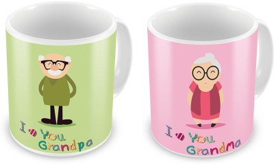 Indian Gift Emporium I love You Grandma n Grandpa Printed Coffee s Pair Ceramic Mug
