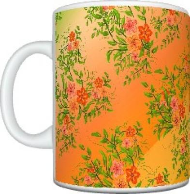 CreativesKart Peach Floral Ceramic Mug
