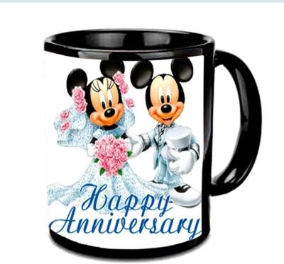 Jiya Creation1 Tom & Jerry Happy Anniversary Multicolor Ceramic Mug