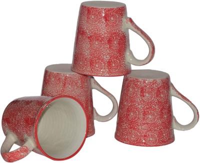 Inhomez Red Hand Block Painted Stoneware Ceramic Tea/Coffee Pottery, Ceramic Mug
