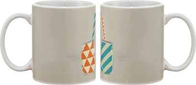 Artifa Jars With Straw Porcelain, Ceramic Mug