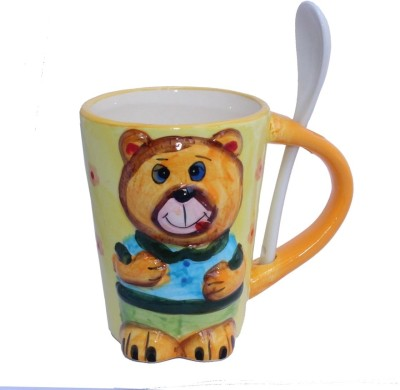 Aarzool 3d Teddy Design With A Spoon Ceramic Mug