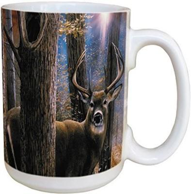 Tree-Free Greetings Greetings 45520 Kevin Daniel Woodland Sentry Buck Ceramic  with Full-Sized Handle, 15-Ounce Ceramic Mug