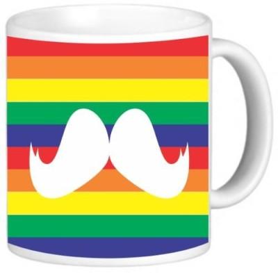 Rikki Knight LLC Knight Ceramic Coffee , Mustache on Rainbow Background Ceramic Mug