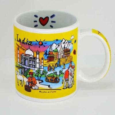 India Souvenirs 11 Oz Yellow  with India Subway Design Porcelain Mug