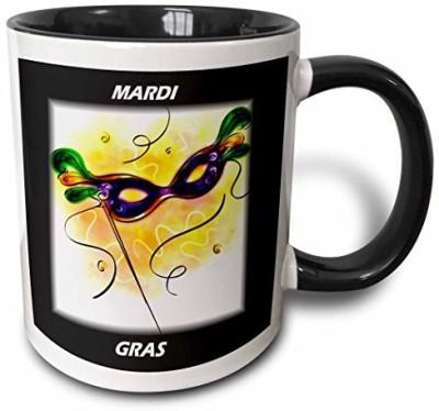 3dRose Mardi Gras Feather Mask Two Tone Black , 11 oz, Black/White Ceramic Mug