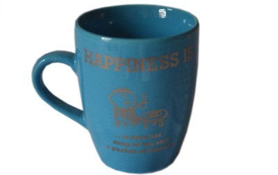 MGPLifestyle Happiness Quote  in Blue Color Ceramic Mug