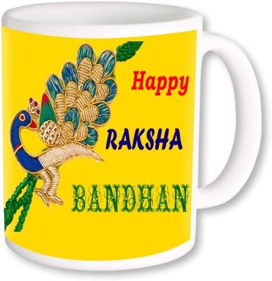 PhotogiftsIndia Peacock Rakshabandhan Threads Ceramic Mug