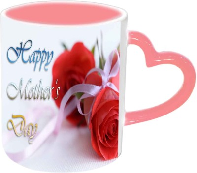 Jiya Creation1 Happy Mother,s Day with Red Roses Pink Heart Handle Ceramic Mug