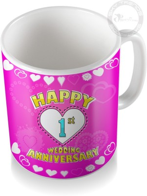 SKY TRENDS GIFT 1st Happy Wedding Anniversary Coffee  Ceramic Mug