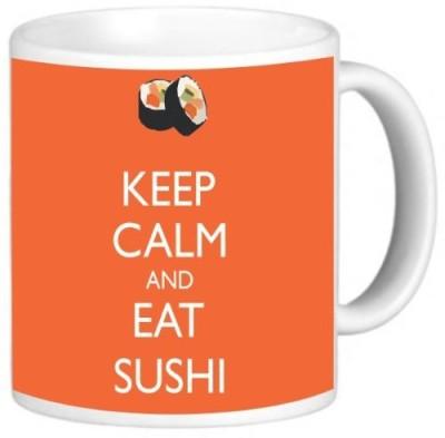 Rikki Knight LLC Knight Ceramic Coffee , Keep Calm and Eat Sushi Orange Color Ceramic Mug