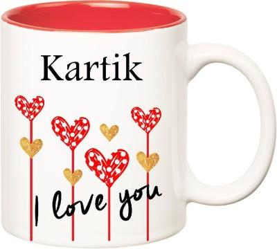 Huppme I Love You Kartik Inner Red  (350 ml) Ceramic Mug