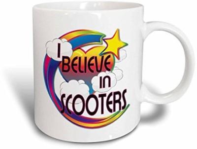 3dRose I Believe in Scooters Cute Believer Design Ceramic , 11 oz, White Ceramic Mug