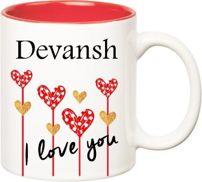 Huppme I Love You Devansh Inner Red  (350 ml) Ceramic Mug