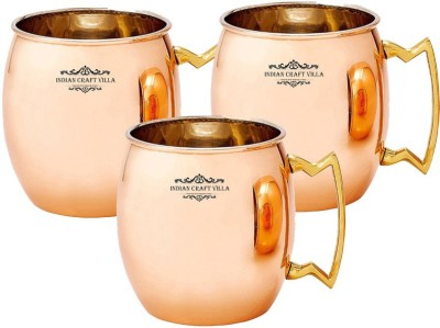 Indian Craft Villa IndianCraftVilla Handmade Set Of 3 Copper Nickle Moscow Mule Solid Round  Cup Volume 530 ML for Use Restaurant Ware Beer Bar Ware Hotel Ware Copper Mug