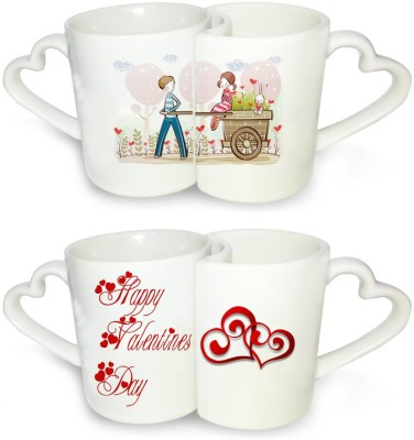 Ucard Valentines Day Love Cart Couple  Set Bone China, Ceramic, Porcelain Mug