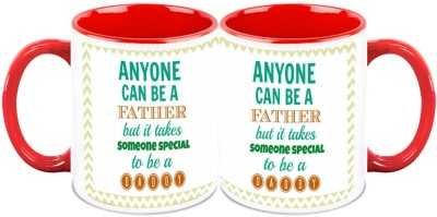 HomeSoGood Only Special People Become Daddy (Set Of 2) Ceramic Mug
