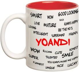 Huppme Good Personality Yoandi Inner Red Ceramic Mug(350 ml)