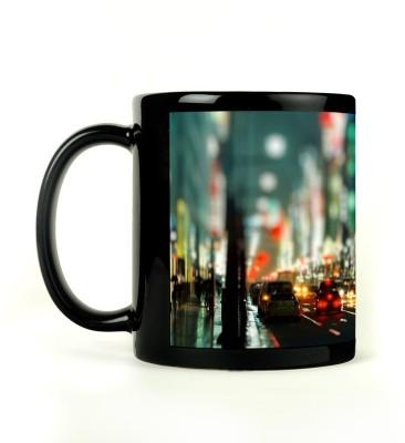 Rockmantra Busy Street Night Ceramic Mug