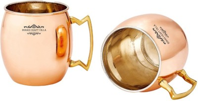 Indian Craft Villa IndianCraftVilla Handmade Set Of 2 Copper Nickle Moscow Mule Solid Round  Cup Volume 530 ML for Use Restaurant Ware Beer Bar Ware Hotel Ware Copper Mug
