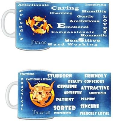 CreativesKart Zodiac Pisces (M) Taurus (F) Compatibility  Ceramic Mug