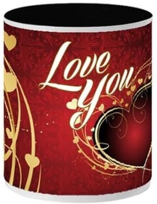 Allthingscustomized Love You Ceramic (Painted Inside) Ceramic Mug
