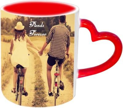 Jiya Creation1 Frnds Forever Red Heart Handle Ceramic Mug