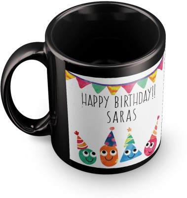 posterchacha Saras Personalised Custom Name Happy Birthday Gift Tea And Coffee  For Gift Use Ceramic Mug