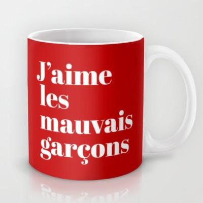 Astrode I Love Bad Boys In French Ceramic Mug