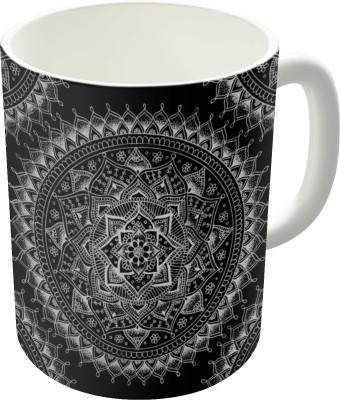 Dreambolic White Flower Mandala On Black Ceramic Mug
