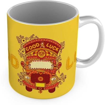 Kiran Udyog Good Luck Truck Printed Special Yellow Coffee  559 Ceramic Mug