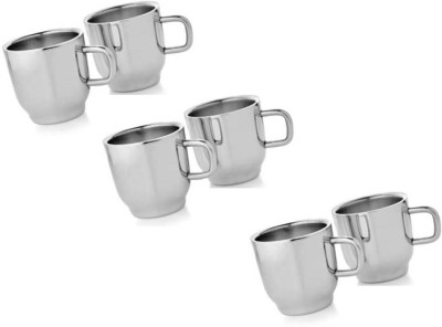 Dynore Set of 6 Double Wall Classic Cups Stainless Steel Mug