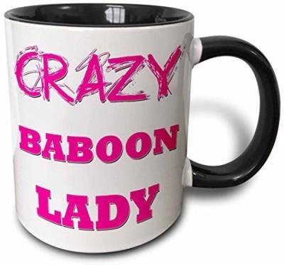 3dRose mug_174929_4 Crazy Baboon Lady Two Tone Black , 11 oz, Black/White Ceramic Mug