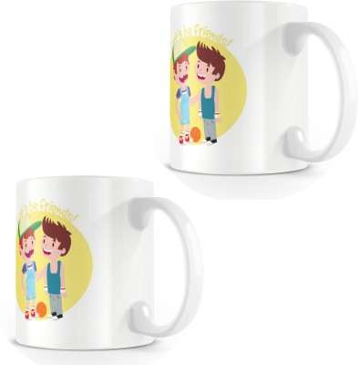 posterchacha Lets Be Friends White Tea And Coffee Gift For Best Friend And Loved One Bone China Mug