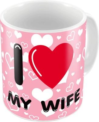 Indiangiftemporium Pink Color Romantic Printed Coffee s Pair 695 Ceramic Mug