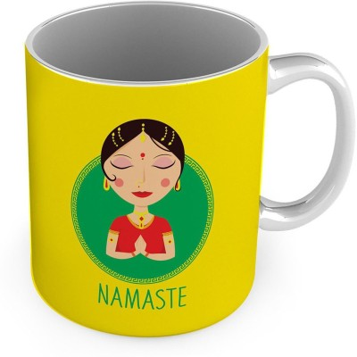 Little India Namaste Quote Printed Delightful Yellow Coffee  561 Ceramic Mug