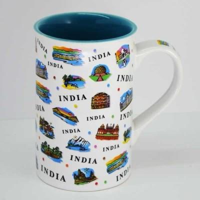 India Souvenirs 12 Oz White  with India Expression Design Porcelain Mug