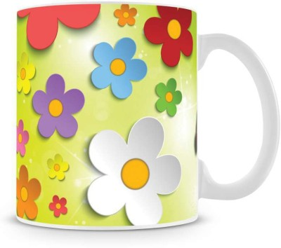 Saledart Mg213-Beautiful Butterfly And Flower Background Ceramic Mug
