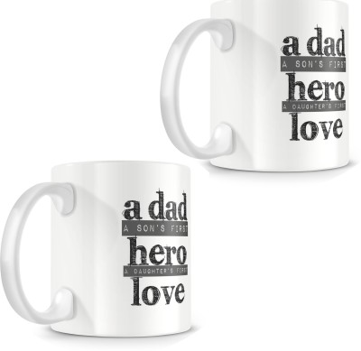 posterchacha Son's First Hero, Daughter's First Love White Tea And Coffee Gift For Fathers Day Bone China Mug