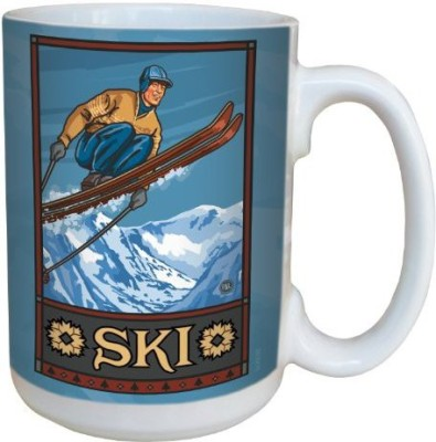 Tree-Free Greetings Greetings lm43193 Vintage Ski Jumper Classic by Paul A. Lanquist Ceramic  with Full-Sized Handle, 15-Ounce, Multicolored Ceramic Mug