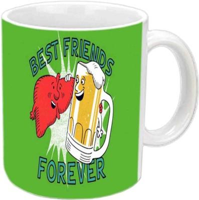 RajLaxmi Friend Forever White Ceramic  Ceramic Mug