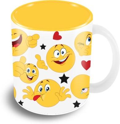 Thecrazyme Happy Faces Emoticons Coffee Ceramic Mug