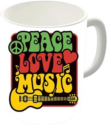 The Fappy Store Peace, Love, Music In Rasta Colors Ceramic Mug