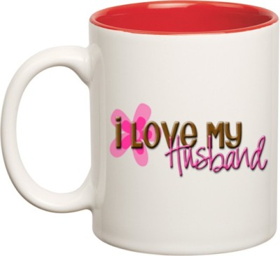 Huppme I Love My Husband Inner Red  Ceramic Mug