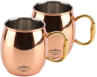 Indian Craft Villa IndianCraftVilla Handmade Copper Nickle Set Of 2 Moscow Mule Solid Round  Cup Volume 530 ML for Use Restaurant Ware Beer Bar Ware Hotel Ware Copper Mug